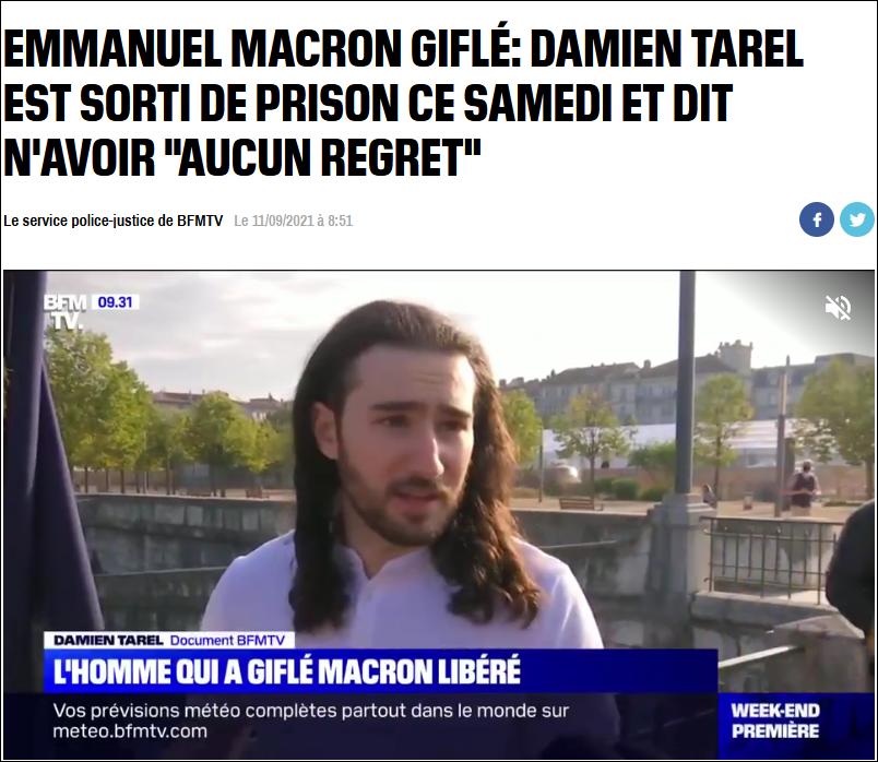 法国BFM新闻台报道,配图为塔雷尔获释后接受采访