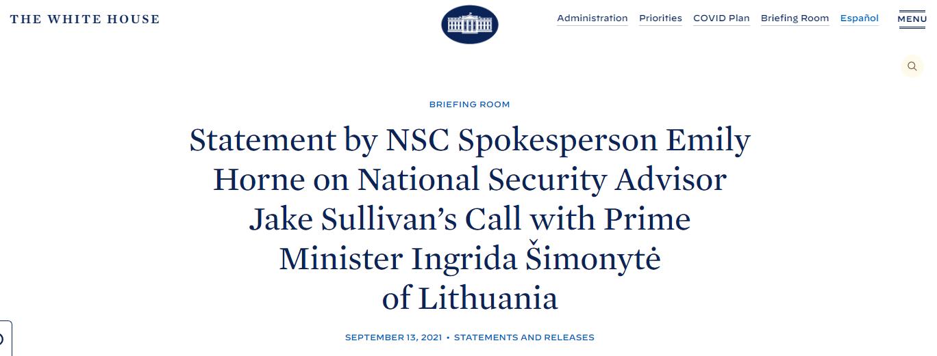白宫声明截图:白宫国家安全委员会发言人艾米莉·霍恩就国家安全顾问杰克·沙利文与立陶宛总理因格丽达·希莫尼特的通话发表声明