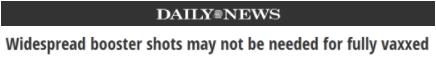 △《纽约每日新闻》:完全接种疫苗者可能不需要加强针。
