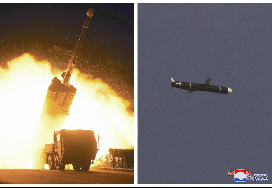 朝鲜国防科学院进行新开发的远程巡航导弹试射 图自朝中社