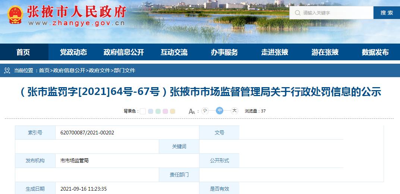 甘肃省张掖市市场监管局关于张掖市环时圣劳务有限责任公司等4家企业行政处罚信息