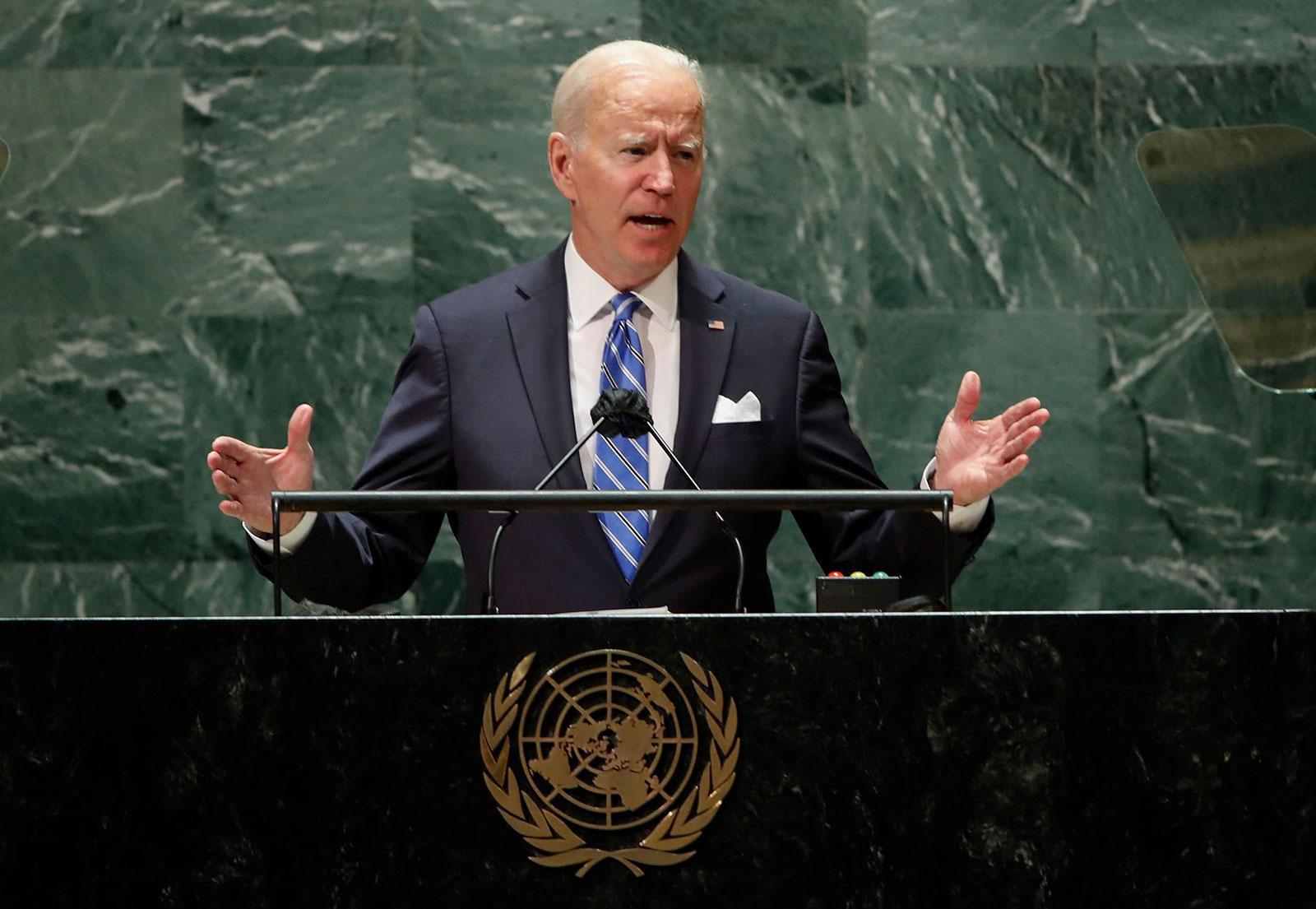 美国总统拜登在联合国大会一般性辩论中发表演讲。