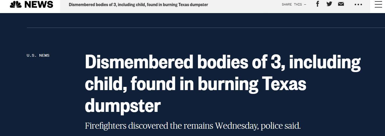 可怕!美国得州一起火垃圾箱内惊现3具焦尸,警方仍在寻找凶手