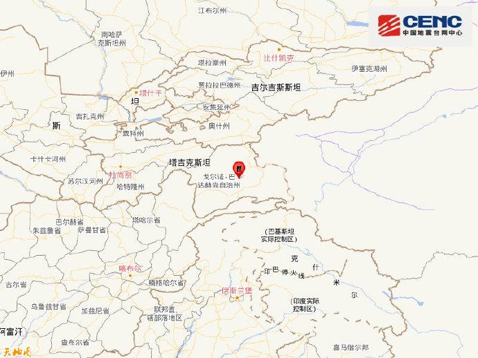 塔吉克斯坦发生5.4级地震 震源深度30千米