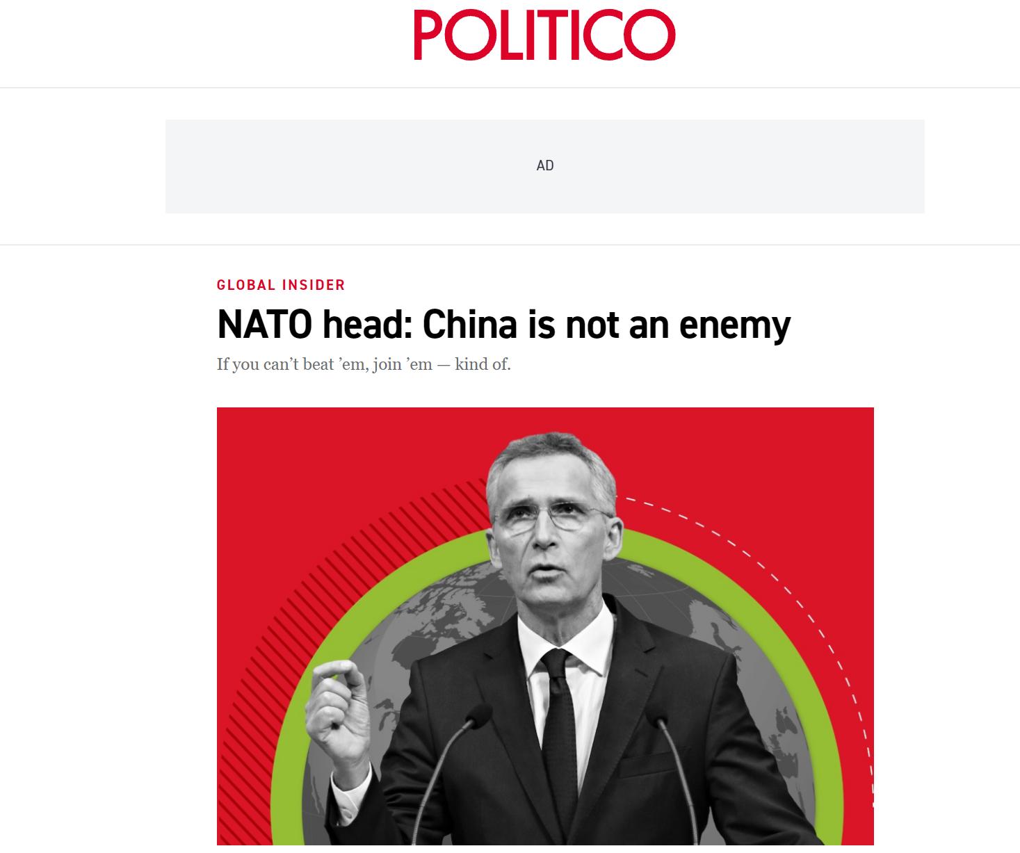 """美国""""政治""""新闻网站报道截图"""