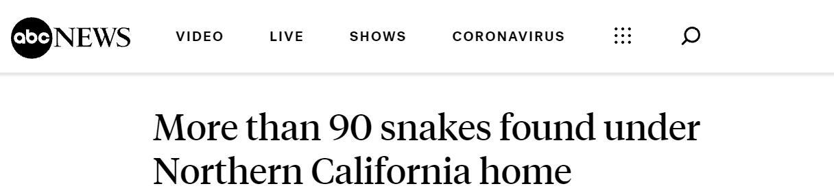 毛骨悚然!美加州一民宅地下先后惊现90多条蛇