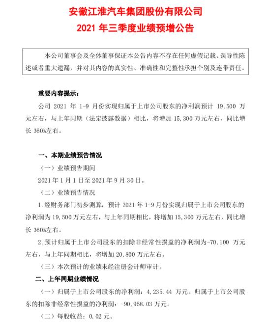 江淮汽车前三季度净利预计同比增长360%
