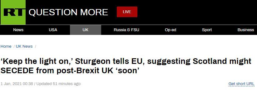 苏格兰政府首席大臣发推:欧洲,苏格兰很快会回来