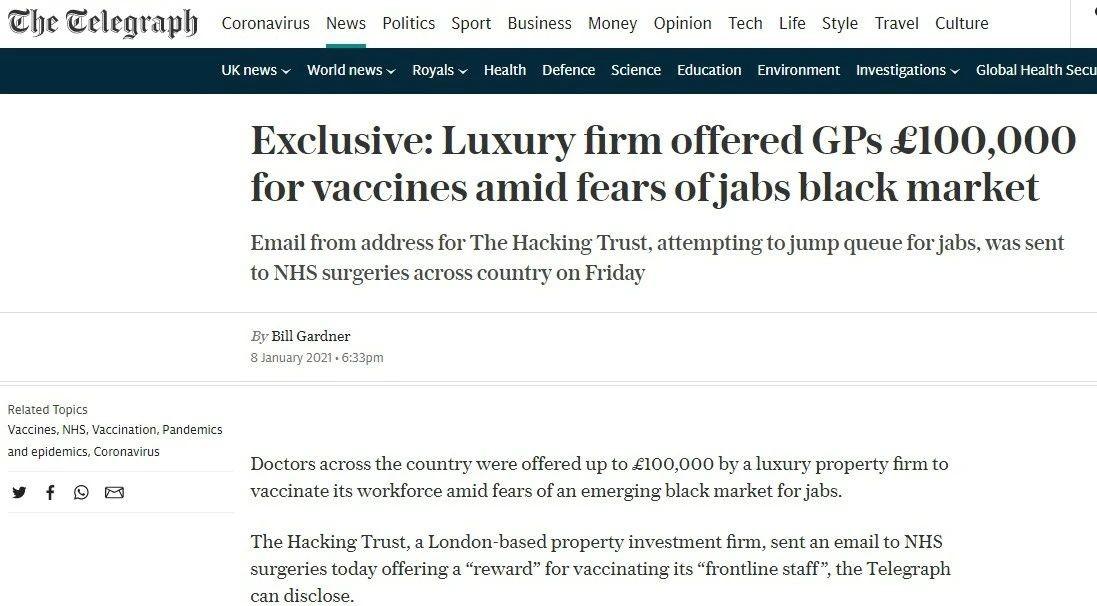 △英国《每日电讯报》报道,豪华公司向医生提供十万英镑求疫苗引发黑市担忧。