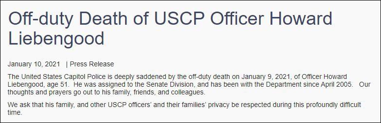 美国国会警察(USCP)官方声明