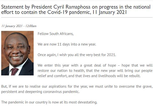 △图片来源:南非总统府公告截图