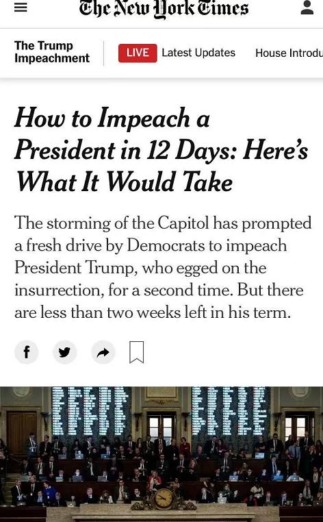 """△《纽约时报》指出,美国目前经历的政治时刻""""非同寻常"""",弹劾总统引发了政治、宪法、移交等多方面的全新问题"""