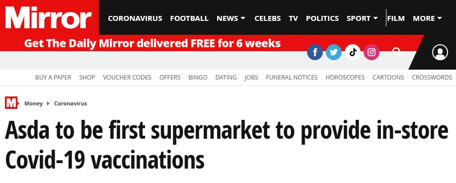 英国一连锁超市可提供新冠疫苗接种服务?英媒:每天可接种250剂