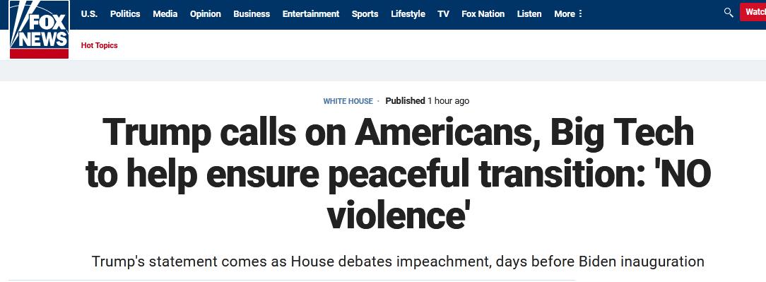 特朗普:一定不能出现任何形式暴力 所有美国人要帮助缓解紧张局势