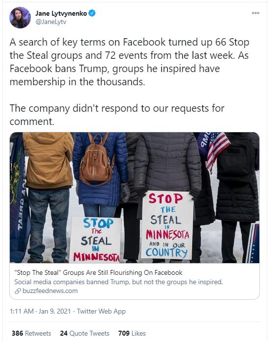 (图为美国Buzzfeed新闻网发现,在国会大厦遭冲击后,脸谱网上仍然有大量支持特朗普的兴趣小组、页面和话题并没有被封杀)