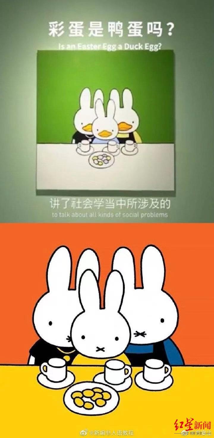 ▲鸭兔(上)与米菲兔人物形象、摆盘及豆子数目对比图。图据微博
