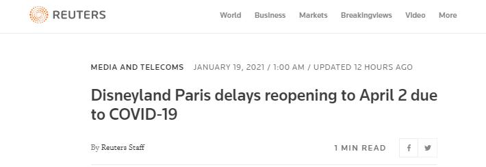 外媒:巴黎迪士尼推迟至4月2日重新开园