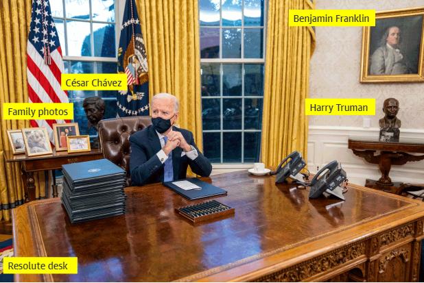 """▲如今椭圆形办公室的装饰被英媒""""八""""了又""""八""""。图据《卫报》"""