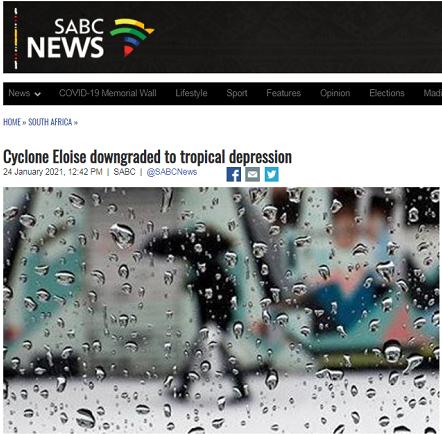 """热带气旋""""埃洛伊塞""""降级成热带低压"""