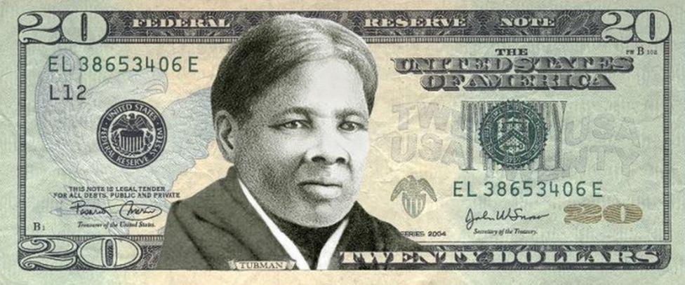 合成示意图:印有塔布曼的20元美钞