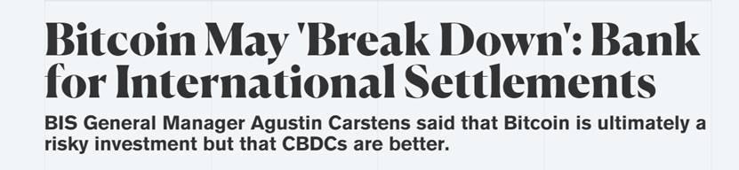 """比特币很可能会彻底崩溃?""""央行的央行""""发出严厉警告"""
