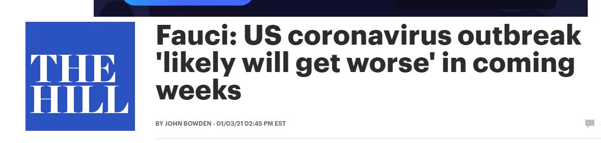 """福奇警告:未来几周美国的疫情 """"可能会更糟"""""""