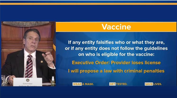 为打击转卖、提前接种疫苗等乱象,科莫提出除吊销执照外,还考虑发起刑事指控 视频截图