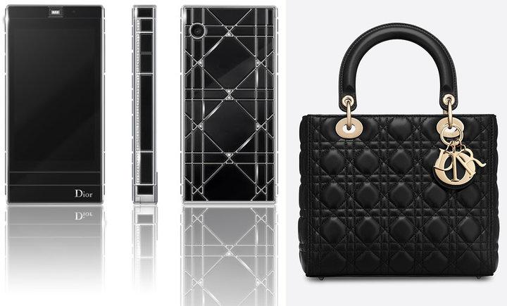 ▲ Dior 定制款手机(图左)和 Dior 经典的戴妃包 Lady Dior(图右)