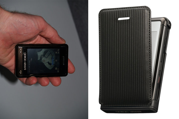 ▲ GIORGIO ARMANI SAMSUNG P520 的实拍图和真皮手机套