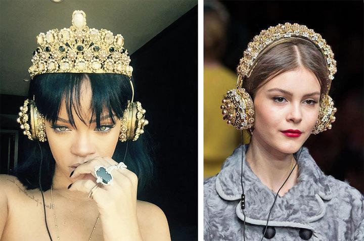 ▲ 蕾哈娜(Rihanna)佩戴 FRENDS x Dolce & Gabbana 联名款耳机的推特照片(图左)和秀场图(图右)