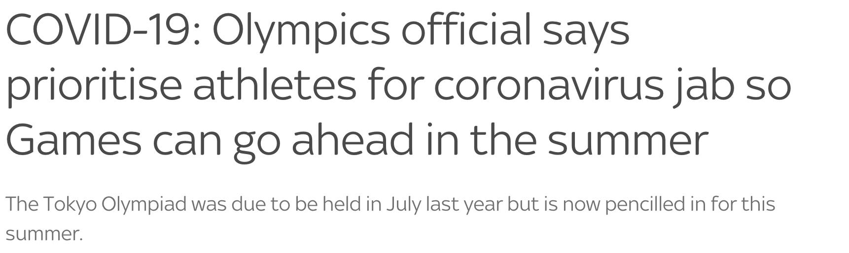 △ 迪克·庞德表示,参会运动员应当优先接种新冠疫苗(图片来自天空新闻网)