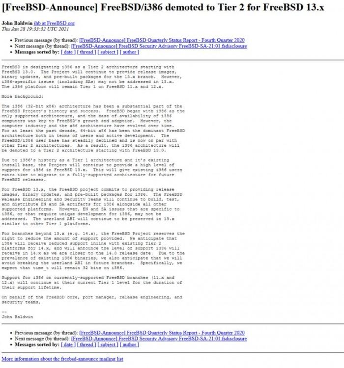 自FreeBSD 13.x开始 FreeBSD/i386 降级为Tier 2