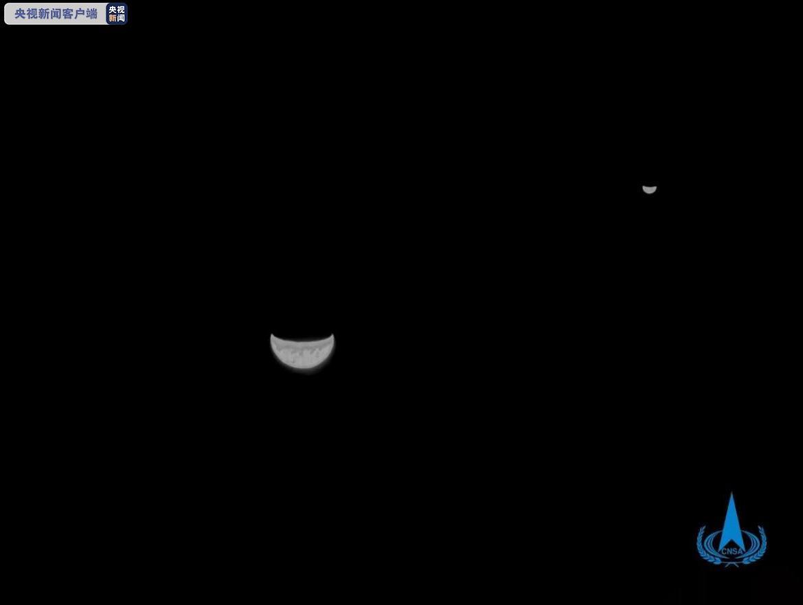 △2020年7月27日,天问一号传回地月合影。
