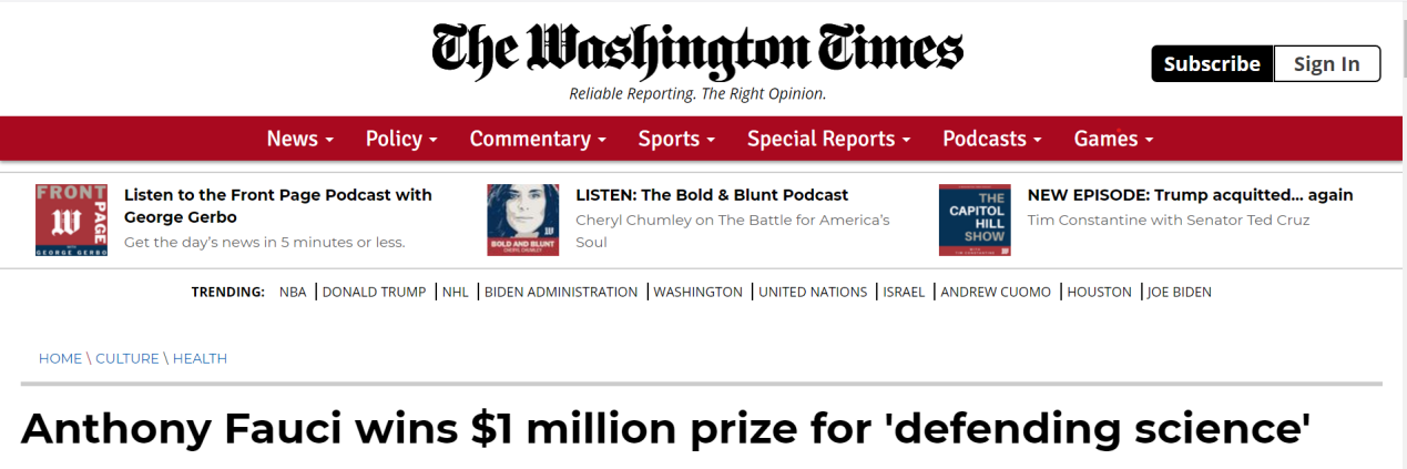 """福奇因""""捍卫科学""""获价值百万美元大奖,获奖评价和特朗普有关?"""