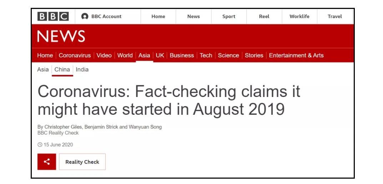 ▲冠状病毒:事实核查声称可能始于2019年8月