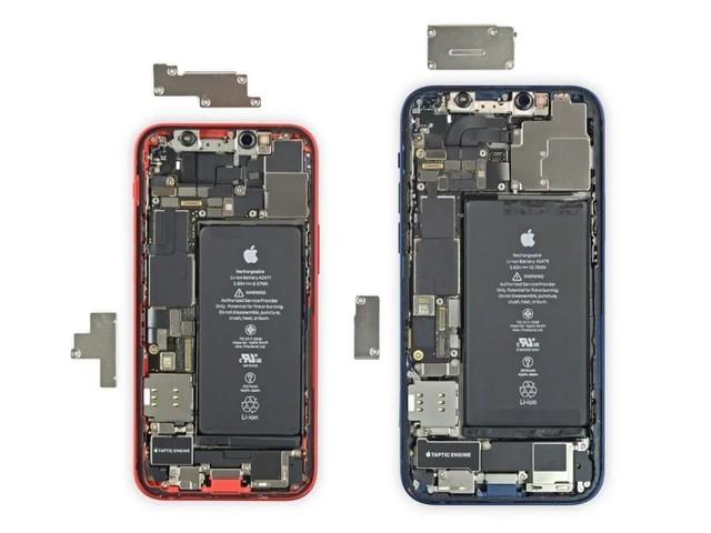 与 iPhone 12相比,iPhone 12 mini电池、扬声器和马达等组件都不同(图片来源网络)