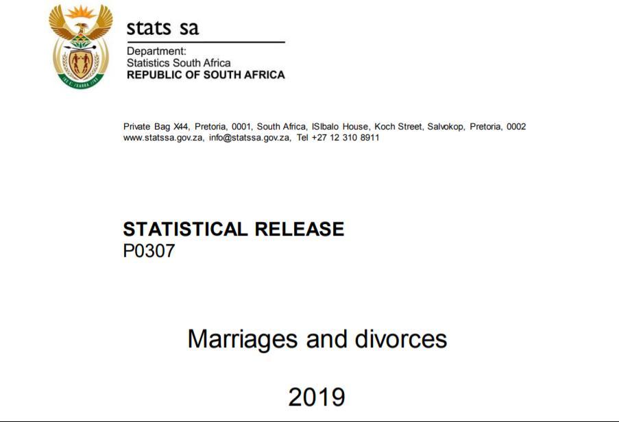 南非离婚率持续下降 结婚年龄开始向后推迟