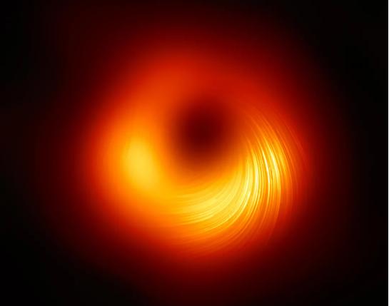 偏振光下M87超大质量黑洞的图像,图中线条标记了偏振的方向(图片来源:EHT collaboration)