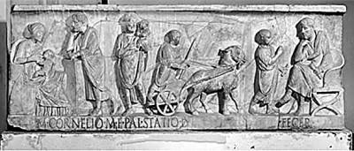 公元2世纪中期罗马贵族男孩M·科涅利乌斯·斯塔提乌斯的石棺,展现了其从出生、被父亲拥抱、做游戏到接受父亲教育的画面。资料图片