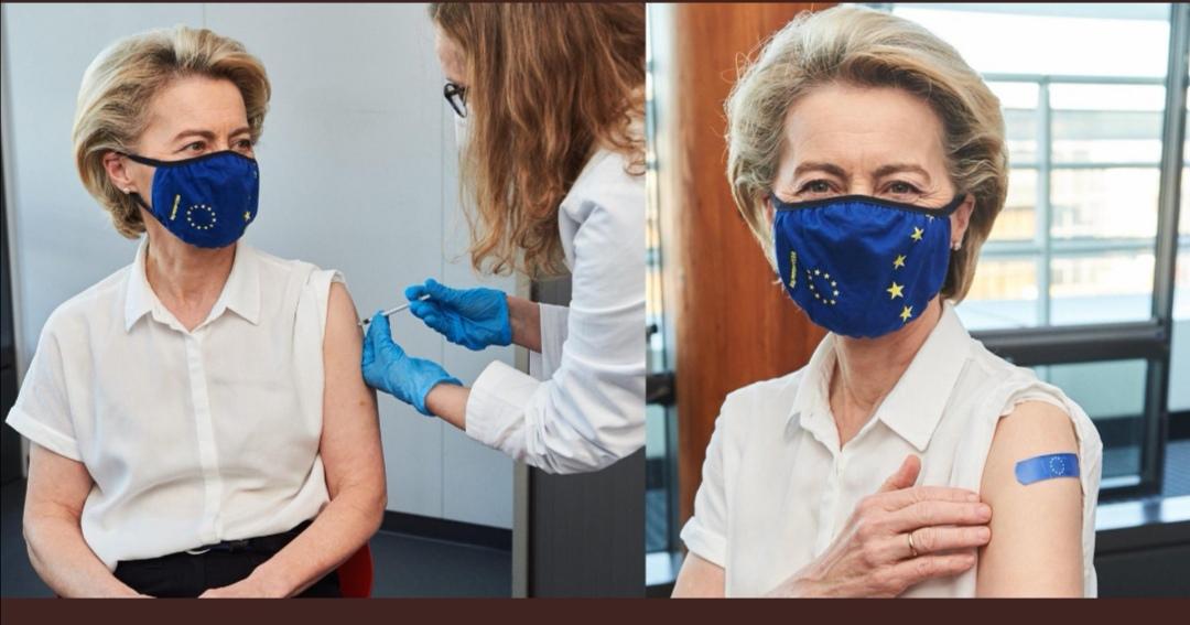 欧盟委员会主席冯德莱恩接种第一剂新冠疫苗