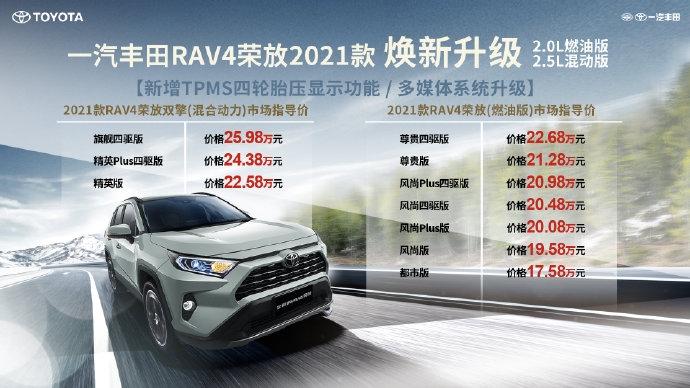 新款丰田RAV4荣放家族上市:首推插电混动版