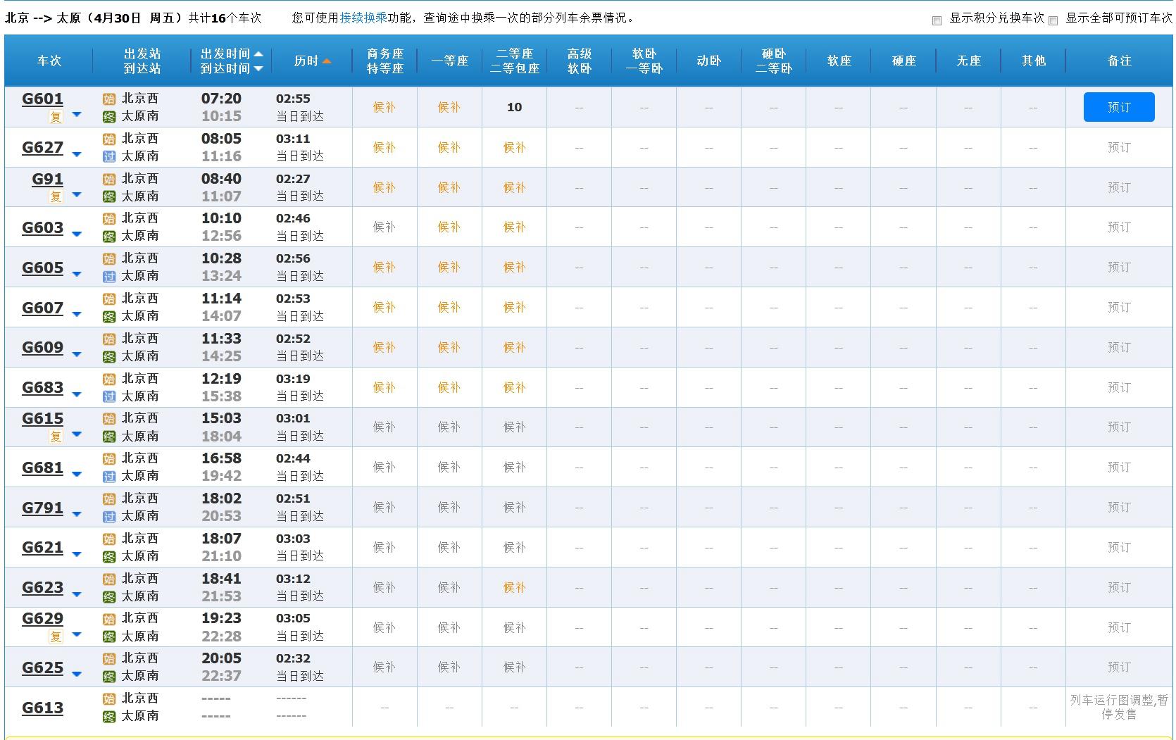 4月30日北京至太原高鐵車票情況 來源:12306網站
