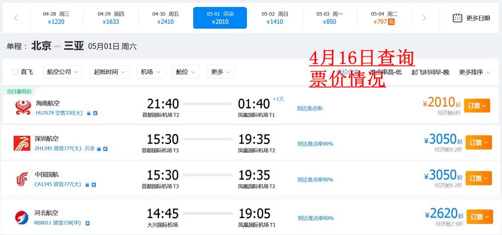 4月16日查詢的北京-三亞航班票價情況 來源:攜程網站