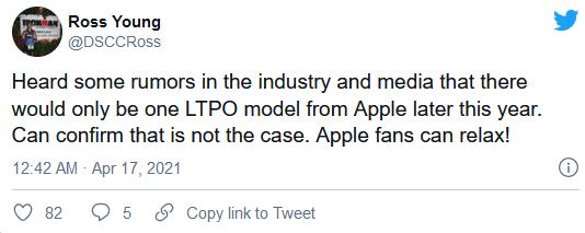 据称支持120Hz刷新率的LTPO显示屏将出现在iPhone 13 Pro机型上