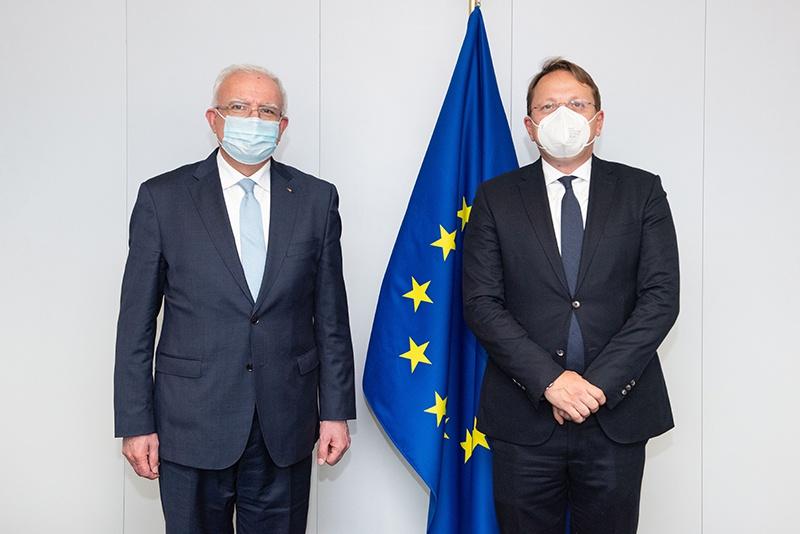△4月19日,瓦尔赫利(右)同马勒基(左)会面 图片来源:欧委会网站