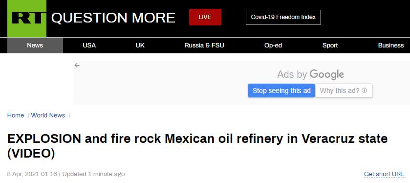 墨西哥一炼油厂突发大火,现场浓烟滚滚、爆炸声不断