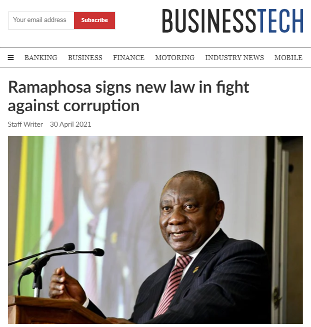 南非总统签署新法律 打击腐败犯罪