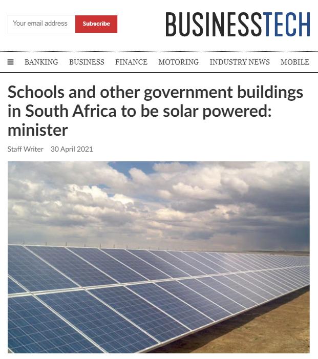 南非政府及学校将采用太阳能供电