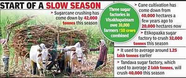 印度安德拉邦甘蔗量锐减 拖欠高额蔗款 糖厂蔗农面临困境