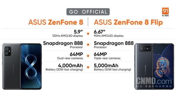 华硕ZenFone 8/8 Flip搭载骁龙888约3870元起